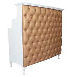 French Style Shabby Chic Reception Desk Retail Cash Desk with Bronze Faux leather padded front The length is either 1200mm or 1500mm the height is