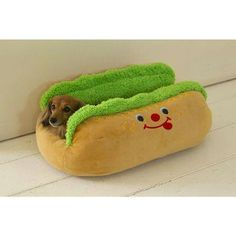 Dachshund in a Hot Dog Bed For all the weiner dog lovers! Cute Puppies, Cute Dogs, Dogs And Puppies, Cute Dog Beds, Funny Animals, Cute Animals, Funny Pets, Animals Dog, Dachshund Love