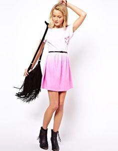 ASOS Skater Dress In Dip Dye With Floral Pocket <3