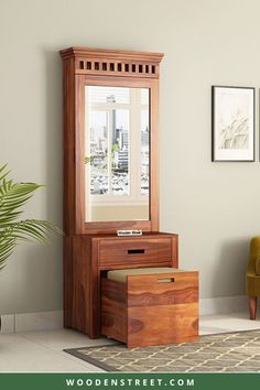 Adolph dressing unit reflects the all-time classiness and comes with a fair share of mirror and storage. The easy to pull out drawers are perfect to keep your everyday essentials. It is finely crafted from premium-quality Sheesham wood. The three finish options available in this are honey,walnut and teak. Wall Mounted Dressing Table, Dressing Table Mirror Design, Dressing Table Wooden, Dressing Table Storage, Dressing Room Decor, Bedroom Dressing Table, Dressing Table With Stool, Storage Stool, Dressing Room Design