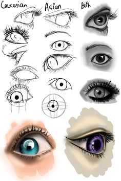 Asian and Cacasian Eyes by OryxPixie.deviantart.com on @DeviantArt