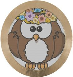 Hippy Owl Cross Stitch Pattern PDF DMC threads by KnitSewMake, £2.00