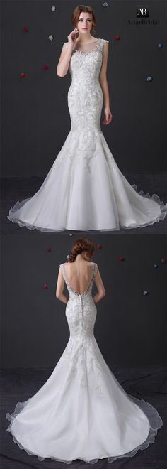Glamorous organza bateau neckline mermaid wedding dress with beaded lace appliques. A stunning mermaid wedding dress. (WWD81120) - Adasbridal.com