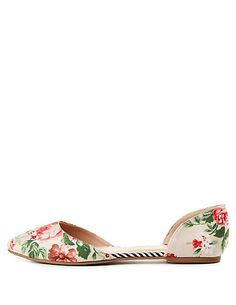Floral Pointed Toe D'Orsay Flats