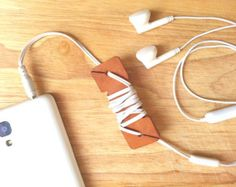 Leather Earphone Cable Wire Organizer, Cord Organizer