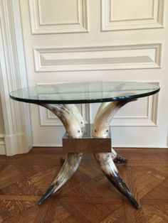 Cow Horn Glass Table