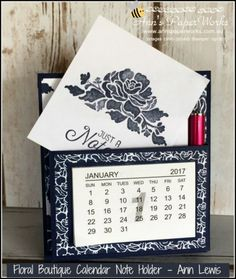 Floral Boutique Calendar Note Holder, easy handmade Christmas gift, Ann's PaperWorks| Ann Lewis| Stampin' Up! (Aus) available from my online store 24/7