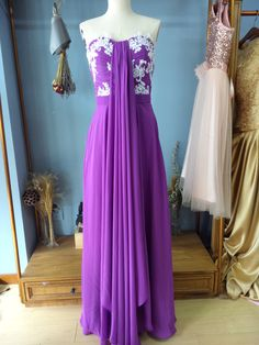 Strapless Floor Length Formal Occasion EveninG Dress with Appliques
