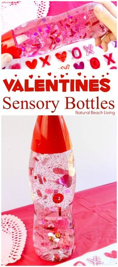 How to Make Valentines Sensory Bottles Kids Love, Valentine\'s Day Sensory Bottles are perfect for any home or classroom activity, Homemade sensory bottles make a great addition to any Science table, Calm down bottles, DIY Sensory Bottle, Easy sensory activity for preschoolers and Toddlers, Valentine\'s Day craft for kids, #sensoryplay #Valentinesdaycrafts #sensorytoys #sensoryprocessingdisorder