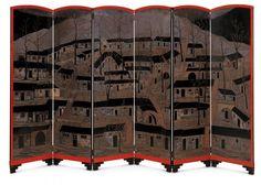 Paravent « Les Cagnas » Jean Dunand, paris, vers  1921, acajou, laque, métal, six feuilles - Les Arts Décoratifs -