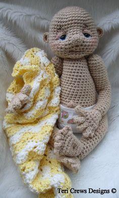 Crochet Pattern Huggable Lifesize Baby Doll by Teri Crews Crochet Dolls Free Patterns, Crochet Doll Pattern, Baby Patterns, Basic Crochet Stitches, Crochet Hook Sizes, Crochet Round, Diy Crochet, Crochet Baby Toys, Free Baby Stuff
