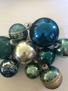 Vintage Ornaments Shiny Brite Ornaments  Blue Ornaments