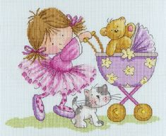 This cross stitch pattern by Nicola Mason is filled with the whimsy of childhood. I adore the bright colors, the polka-dotted stockings the little girl is wearing, and the way the teddy bear seems to wave as he is pushed along in the baby carriage. This is perfect for a sweet, growing girl. Available from ebay: http://www.ebay.com/itm/Bothy-Threads-Little-Jem-TEDS-OUTING-cross-stitch-kit-/251318559998?pt=UK_Crafts_CrossStitch_RL=item3a83c0e4fe