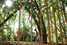toshihiro oki erects tree wood folly in socrates sculpture park, NY , USA