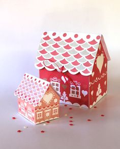 Printable Gingerbread house gift boxes by happythought.co.uk