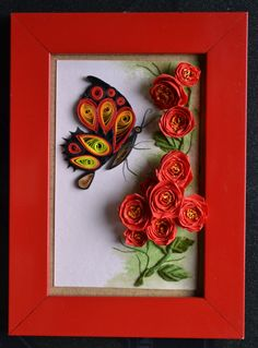 Buterfly and rose quilling