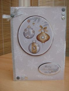 Handmade Christmas Card - Christmas Baubles A5   Kibbs Cards MISI Handmade Shop