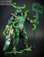 In an effort to compete with He-Man and Skeletor's galactic powers and defeat Lady Slither's army, King Hiss launches himself and Fangor into space. Fangor being Hiss's resident weaponer, he orders him to conduct experiments on him using space radiation. The procedure mutates Hiss's body even further resulting in Fangor having to construct a new suit for Hiss to contain his new galactic powered. . .