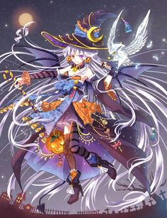 HAPPY HALLOWEEN~~★ anime art. . .witch girl. . .witch costume. . .witch hat. . .long hair.  . .gloves. . .striped socks. . .stockings. . .boots. . .jack o lantern. . .pumpkin. . .candy. . .bat wings. . .cemetary. . .night sky. . .cute. . .kawaii