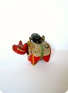 VINTAGE JAPANESE HandCrafted Red Bull Bobble by TokyoVintage26, $12.50