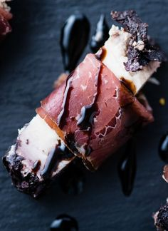 Pope Pairing: Morso Barolo Testun al Barolo cheese wrapped in Bresaola and drizzled in Bellei Balsamico Glaze.