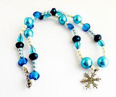 beaded necklace, Snow queen, snowflake jewelry, bubblegum necklace, chunky necklace, toddler jewelry, girls jewelry