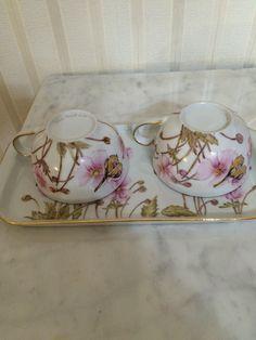 Vassoio e tazze dipinte a mano Tiziana Menturli