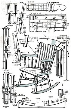 #799 Boston Rocking Chair Plans - Furniture Plans #ChairClassic
