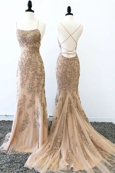 Mermaid Spaghetti Straps Applique Lace Prom Dresses With Sweep Train,PL5134 on Luulla