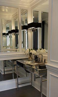 Mirrored Wall Panels in Bathroom