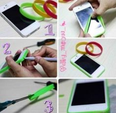 Great for an iPhone 4 or 4s. Just use bracelets and trace/cut holes.