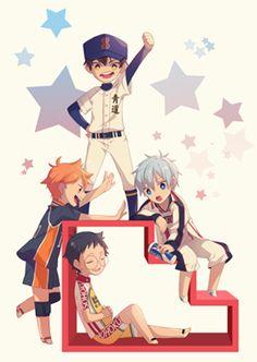 un crossover de kuroko no basket, yowamushi pedal,haikyuu y diamond no ace :3