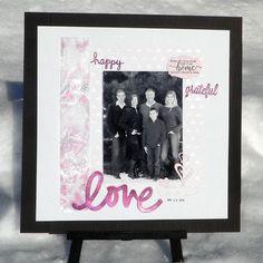 Neva Cole creates a Family photo frame with Creative Medium, embossing powder and Imagine's Vertigo surfaces. love, pink, die cuts, grateful, happy, home.