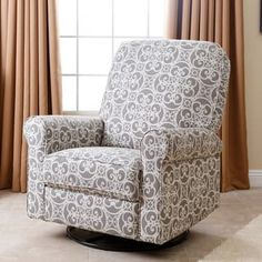 Abbyson Perth Grey Floral Fabric Swivel Glider Recliner Chair