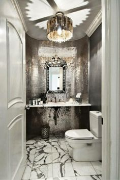 Great Glittery - Mosaic Work & Chandelier in this Stunning Bathroom!