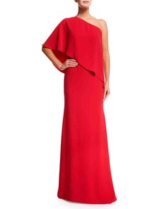 """""""Mother-of-the-Bride Dresses That Aren't Matronly""""  by Carrie Goldberg of 'Martha Stewart Weddings' Sr. Associate Fashion Editor ~ Want to make sure your mom looks & feels special—& stylish—on your wedding day? Have her wear 1 of these chic mother-of-the-bride dresses!   CARMEN MARC VALVO Sheath: Your mom can show off her toned arms while keeping the rest of her figure under wraps in a vibrantly colored, draped 1-shoulder gown. $940, bergdorfgoodman.com  ~ Photography: Courtesy of Bergdorf…"""