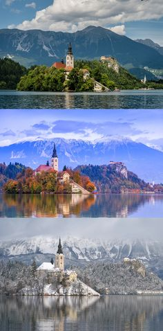 Lake Bled in Slovenia is an amazing place to visit all year round! Pretty affordable through Castle Hosel 1004. I just can't decide which time of year is prettiest, its so amazing