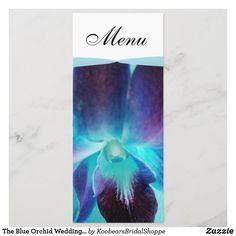 The Blue Orchid Wedding Menu Wedding Dinner Menu, Wedding Menu Cards, Wedding Invitations, Wedding Color Schemes, Wedding Colors, Blue Orchid Wedding, Individual Wedding Cakes, Blue Orchids, Card Sizes