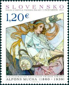 Postzegel: Alfons Mucha – Painting from hotel Thermia Palace in Piešťa… (Slowakije) (Art) Mi:SK 778,POF:SK 602