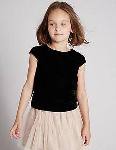 Short Sleeve Velvet Top (1-7 Years)