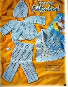 Crochê Tricô do Bebê: Casaquinho,macacão,touca e manta em crochê meninos...