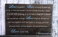 Handmade and hand painted Reclaimed Pallet Wood Sign. Pricing is for ~ 32 in X 24 in. (White lettering with the word Love in light blue) Love is Reclaimed Wood Signs, Wood Pallet Signs, Wood Pallets, Pallet Crafts, Wood Crafts, Pallet Ideas, Wedding Guest Table, Scripture Art, Bible