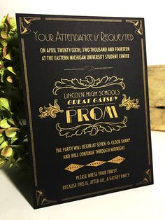 Prom Wedding Invitation Art Deco Great Gatsby Theme Gold on Black Wedding Stationery Byway Creative Kaylan Petrie Graphic Design