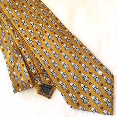 Alfred Dunhill Necktie Gold Teddy Bear Print Mens Tie Soft 100 Percent Silk  #dunhill #Tie