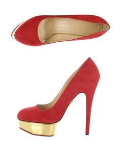 The Dolly by Charlotte Olympia in lucky colours red and gold for Chinese New Year