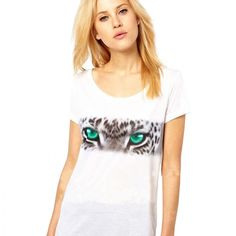 HDY Haoduoyi Fashion Print Basic Tops Women Short Sleeve Female Pullover Tops Street White O-neck Casual Ladies T-shirt T Shirts For Women, Clothes For Women, Nice Clothes, Tiger Eyes, Asos Online Shopping, Latest Fashion Clothes, Fashion Prints, Cool Outfits, Women Wear