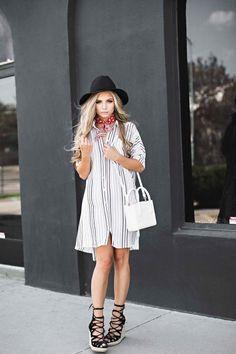 Oversized striped shirt dress