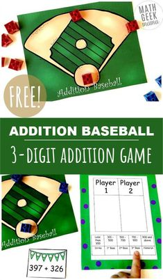 Need to work on adding large numbers? This baseball themed addition game is such a fun way to practice skills, work on mental math or just get out of the normal routine. Perfect for your game time math center! Easy Math Games, Printable Math Games, Free Math Worksheets, Fun Math, Math Resources, Mental Maths Games, Free Printables, Math Sites, Fraction Games