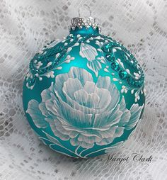 Turquoise Hand Painted 3D MUD Rose Texture Design with Bling 395