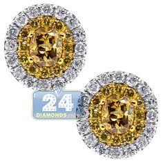 Womens 0.87 Carat Fancy Yellow Diamond Oval Stud Earrings 14K White Gold Green Peridot, Purple Amethyst, Pink Sapphire, Oval Diamond, Diamond Studs, Diamond Shapes, Chandelier Earrings, Women's Earrings, Colored Diamonds